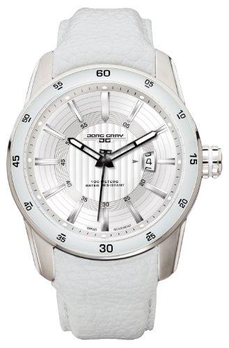 Jorg Gray JG3700-13 White Leather Silver Swiss ISA Movement Patterned Mens Wrist Watch