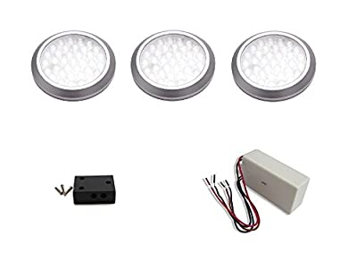 macLEDs ultra low profile POP series 3 piece puck light kit with dimmable hard wired transformer