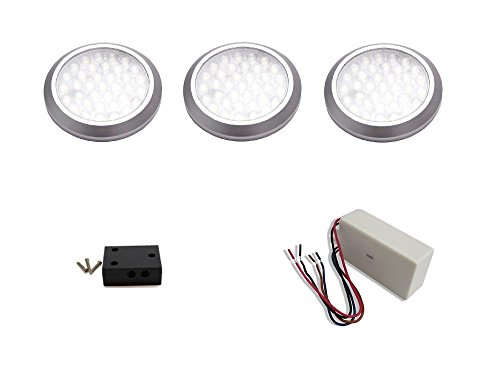 macLEDs ultra low profile POP series 3 piece puck light kit with dimmable hard wired transformer ()