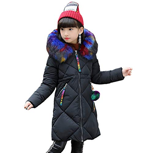 DorkasDE Winterjas voor meisjes, gewatteerd, met bontcapuchon
