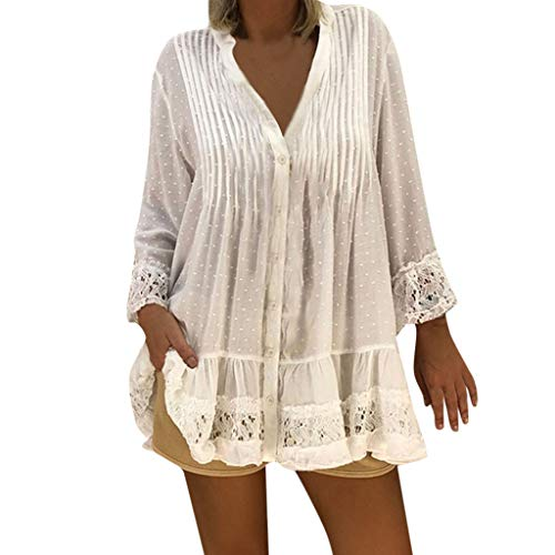 LUXISDE Womens Tops Womens Tops Short Sleeve Women V Neck Caftan Boho Beach Cover Plus Size Ladies Vintage Hippie Baggy Bloue(White,L)