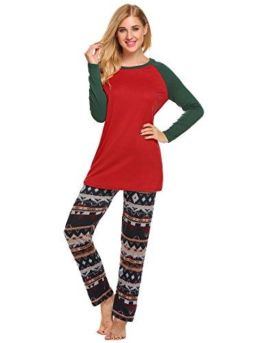 Ekouaer Womens Pajamas Set Christmas Red Green Pajama Top Print PJS Pants Sleepwear (Red, M) (Ladies Christmas Pjs)