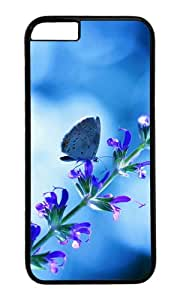 Flower with butterfly blue glare PC Black Hard Case for Apple iPhone 6(4.7 inch)