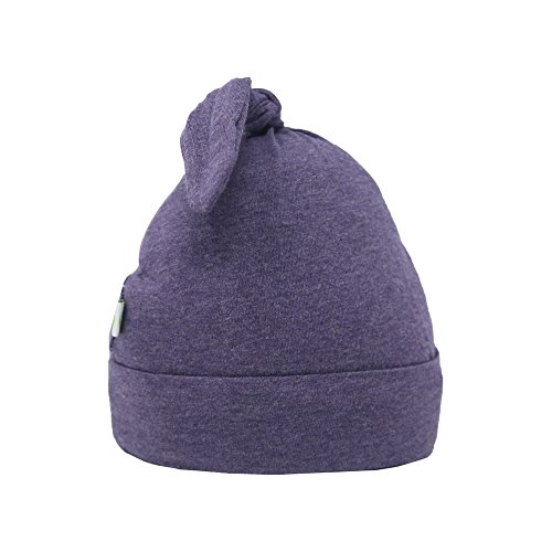 Bum Chicoo Unisex Baby Beanie Hat -Organic Cotton Top Knot Stretchy Soft Hat (Purple, 0-3 Months)