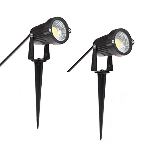 Prodeli Outdoor Decorative LED Spotlight Lamp Lighting 5W COB LED Landscape Garden Wall Yard Path Light Cool White AC 85-265V Spiked Stand (Pack of (Garden Spike Lights)
