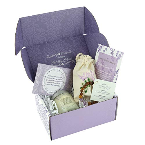 """Unique Memorial Gift for Loss of a Loved One - Express Your Sympathy 4-Piece Gift Set with Classic Jar Candle, Remembrance Jewelry, Flower Seeds, Card & Gift Box - Uplifting """"In Loving Memory"""" Gift"""