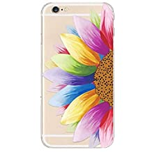 Let it be Free Colorful Square Rhombus Clear Edge TPU Soft Case Rubber Silicone Skin Cover for iphone 6 4.7 Inch (Not for iphone6 Plus) Half Sunflower