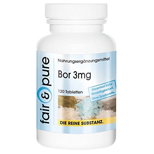 Bor 3mg Boron Natriumtetraborat - Reinsubstanz - 120 Tabletten - frei von Hilfs- und Zusatzstoffen
