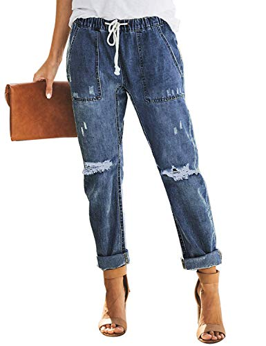LookbookStore Women's Summer Casual Street Boyfriend Blue Distressed Denim Joggers Elastic Waist Drawstring Ripped Pocketed Cuffed Jeans Pants Size Large US 12 - Boyfriend Jeans Cuffed