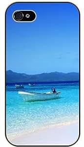 Case For Samsung Galaxy S3 i9300 Cover Boat, shore tropical island - black plastic case / Nature, Animals, Places Series, sea, beach