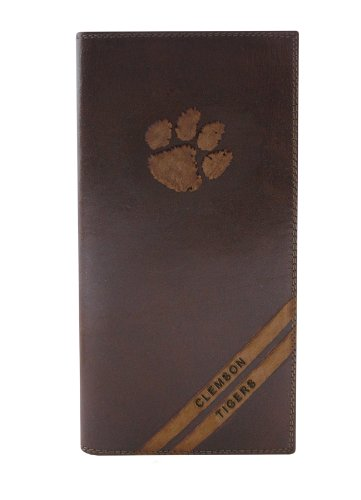 NCAA Clemson Tigers Zep-Pro Pull-Up Leather Long Secretary Embossed Wallet, Brown ()