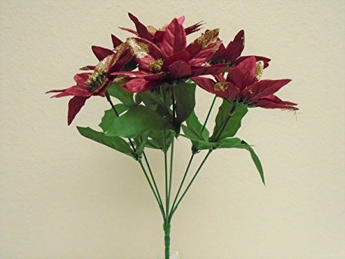 4 Bushes BURGUNDY Christmas Poinsettia 7 Artificial Silk Flower 12