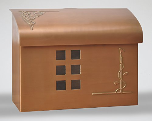 Ecco E7 Arts and Crafts Mailbox - Large Brass Wall Mount Mailbox - 6 Finishes Available (Copper)