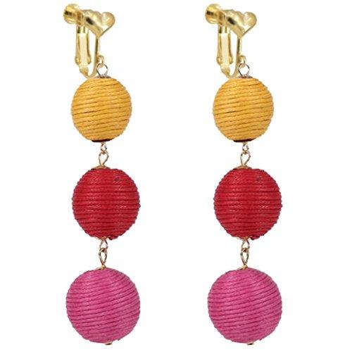 Bohemian Red Ball Beaded Clip on Earrings Heart Clips Long Tassel Dangle Wedding Prom Earring ()