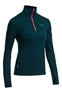 Icebreaker Women's Vertex Long Sleeve Half Zip Fair Isle Shirt, Night/Grapefruit/Night, X-Small