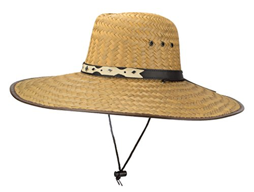 Super Wide Brim Cowboy Lifeguard Hat, Large Palm Leaf Straw Sun Cap, Flex Fit, Chin Strap ()