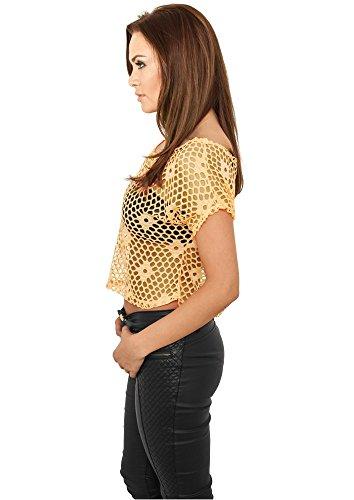 Urban Classics Top Corto de Malla para Chicas Camiseta Mujer Naranja neón neonorange