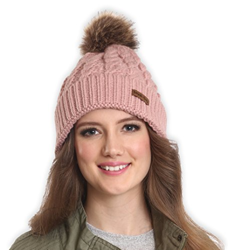 Brook + Bay Women's Faux Fur Pom Pom Beanie - Thick, Soft & Warm Cable Knit Beanie Hats for Winter - Serious Beanies for Serious Style