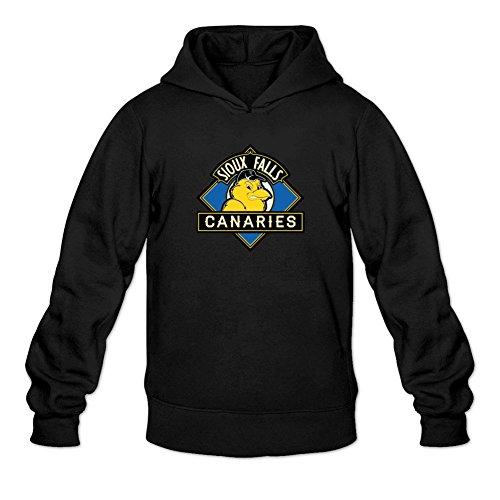 TIANRUN Men's Sioux Falls Canaries Baseball Team Logo Hoodied Sweatshirt Size XL