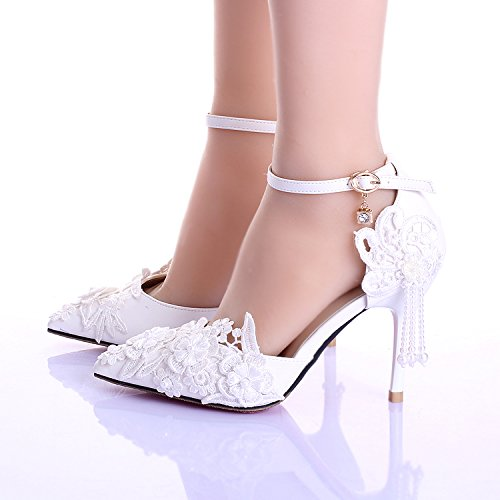heeled handmade And Toe amp; Tassel Stiletto White Bridesmaid Women's 9cm High Decals Si Wedding Sandals Shoes Bride Pointed Heel XqZwHx0BW