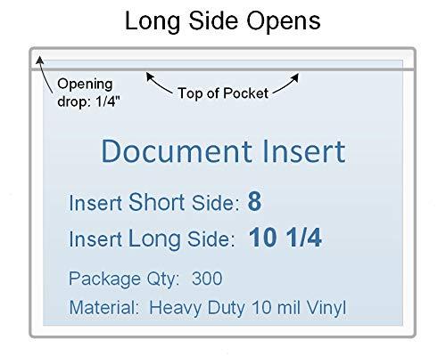 10 1/4 x 8 Vinyl Plastic Sleeve, Set of 300, 0.832 Each, Long Side Opening, Extra Heavy Duty 10 mil Crystal Clear Vinyl ()