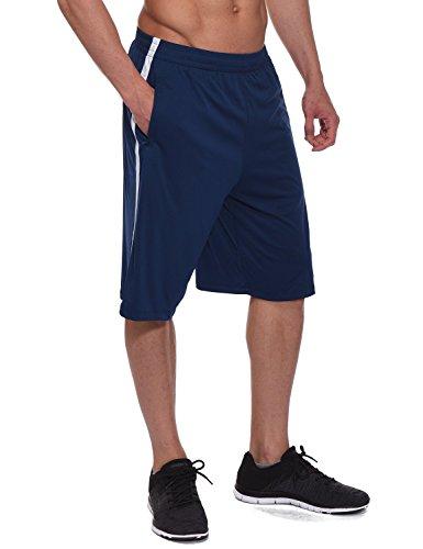 Baleaf Men's Athletic Basketball Shorts Training Workout Zipper Pockets Navy Size L (Blue Basketball Shorts)
