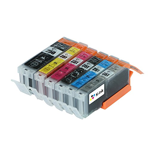 K-Ink PGI 250 CLI 251 Compatible Replacement Ink Cartridges for MG7120, MG7520, IP 8720, IX6820 (1 Large Black, 1 Small Black, 1 Cyan, 1 Yellow, 1 Magenta, 1 Gray)