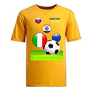 Custom Mens Cotton Short Sleeve Round Neck T-shirt,2014 Brazil FIFA World Cup teams_F yellow