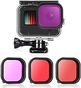 AFAITH 3-Pack Dive Filter Kit + Waterproof Case for GoPro Hero 9 Black, Underwater Diving Photogr...