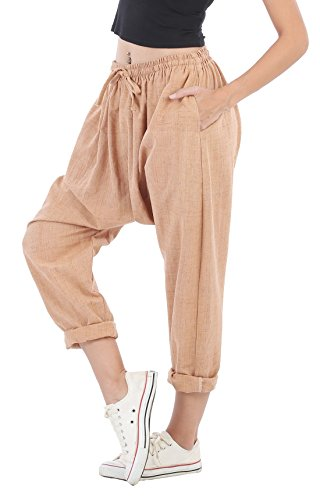 CandyHusky Natural Dye Cotton Women Loose Fit Joggers Hippie Hip Hop Harem Pants (Small/Medium, Pale (Perfect Stretch Twill Cropped Pants)