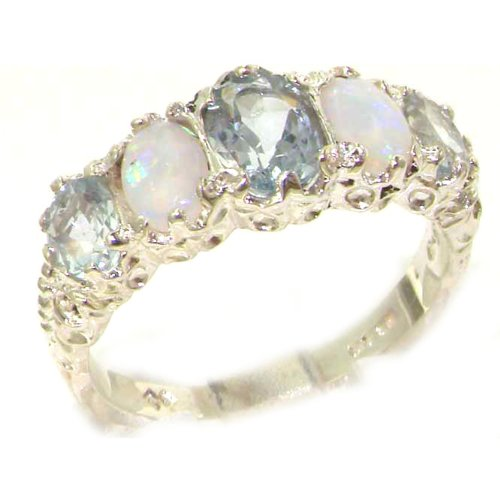 925 Sterling Silver Natural Aquamarine and Opal Womens Band Ring - Sizes 4 to 12 Available by LetsBuySilver