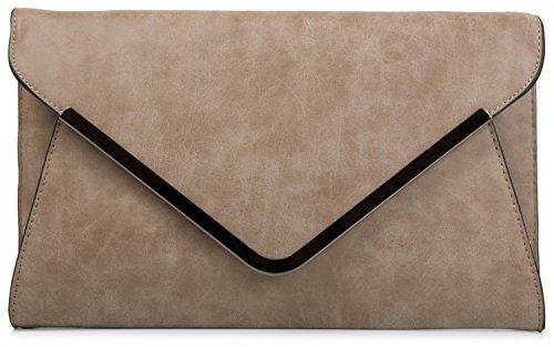 styleBREAKER bolso de mano clutch, bolso de fiesta en diseño de sobre con bandolera y pasador para llevar, señora 02012047, Color Rosa Caqui