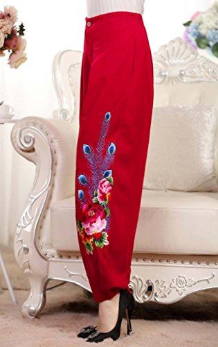 Broderie Bigood Grande Bouffant Rouge Lin Haute Taille Elégant Femme Casaul Coton Pantalon SSnaW8