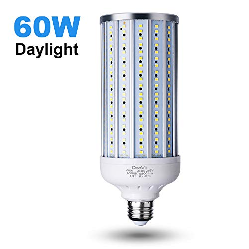 60 Watt LED Corn Light Bulb(450W Equivalent),5500 Lumen 6500K,Cool Daylight White LED Street and Area Light,E26/E27 Medium Base,for Outdoor Indoor Garage Factory Warehouse High Bay Barn and More