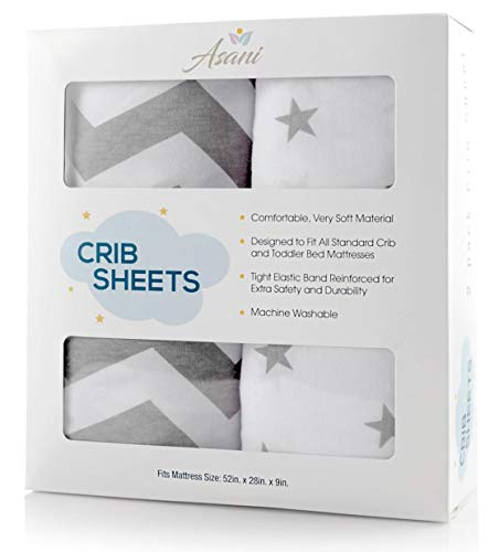 Crib Sheet Set 2 Pack 100% Jersey Cotton for Baby Girl and Baby Boy | Extra-Soft & Breathable Bedding Sheets for Infants, Babies or Toddlers | Anti-Pill Bedding