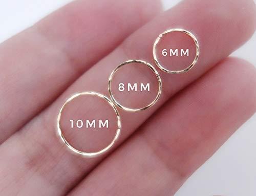 Hammered Texture Cartilage Hoop Earring Nose Ring Tiny Hoop Earring Helix piercing Septum Ring Tragus Ring Nose Hoop Sleeper Earrings 925 Sterling Silver 14K Gold Filled 14K Rose Gold Fill 22G 20G 24G