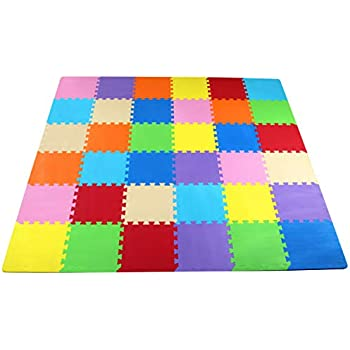 BalanceFrom Kid's Puzzle Exercise Play Mat with EVA Foam Interlocking Tiles, 9 Colors (36 Tiles)