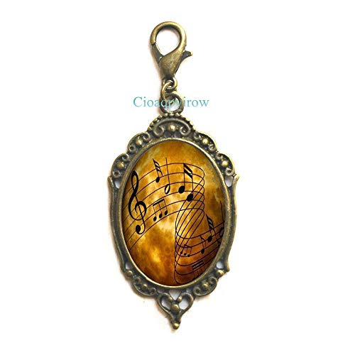 Sheet Music Zipper Pull Musicians Jewelry Music Notes Art Lobster Clasp,Music Student Gift,Piano Music,Photo Image -