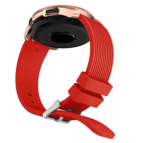 Insaneness Pure Colour Stripe Soft Silicone Watch Band Band Strap for Samsung Galaxy Watch (Red, 42mm) by Insaneness (Image #5)