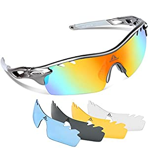HODGSON Polarized Sports Sunglasses with 5 Interchangeable Lenses for Men Women Cycling Baseball Running Glasses, TR90 Unbreakable-Gray