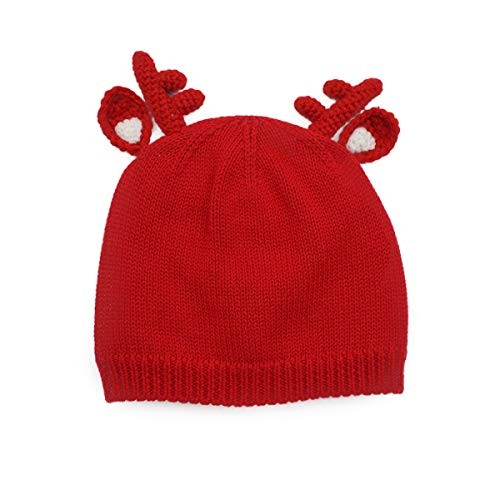Kids Beanie Red (LLmoway Kids Knit Hat Infant Toddler Boys Girls Beanies Cotton Warm Skull Cap, Red, 2-Ply, 1T-4T)