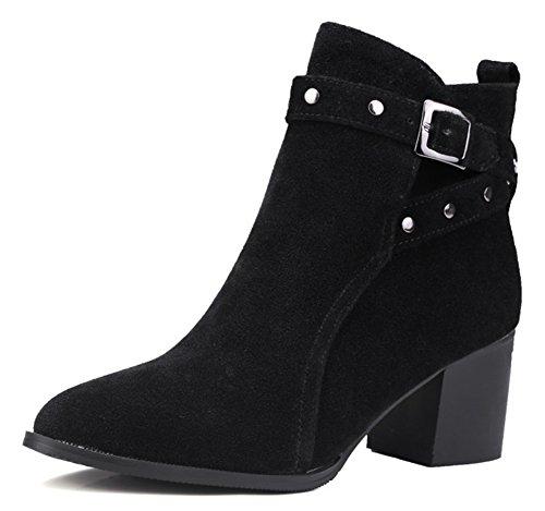 Sfnld Women's Stylish Pointed Toe Studded Buckle Belt Block Heel Ankle High Boots Black 12 B(M) US 12 Black Studded Belt