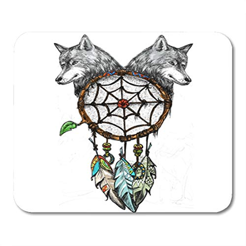 (Semtomn Gaming Mouse Pad Medicine Dreamcatcher with Wolf Heads Drawing Pen Native Tribal Abstract American Animals Black 9.5