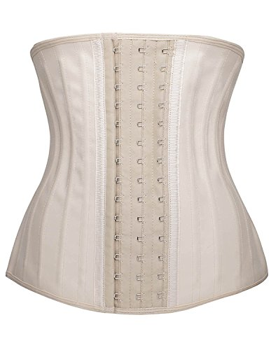 YIANNA Womens Waist Trainer Underbust 25 Steel Boned Sports Fitness Workout Hourglass Body Shaper Weight Loss, YA1210-Beige-M
