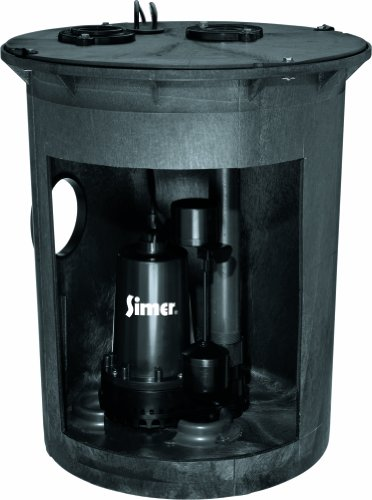 (Simer 3985C 1/2 HP Pre-Plumbed Sump Pump and Basin System)