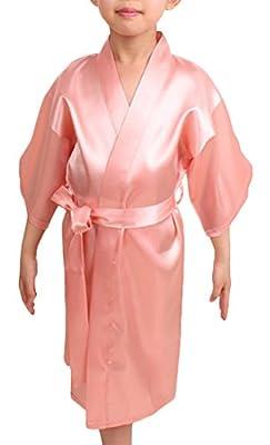 Cityoung Kids' Satin Solid Color Kimono Robe