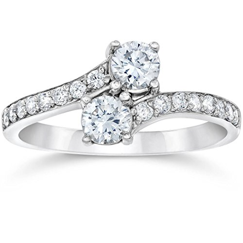 Forever Us Two Stone Round Diamond 1.00Ct Solitaire Ring 14k White Gold - Size 6