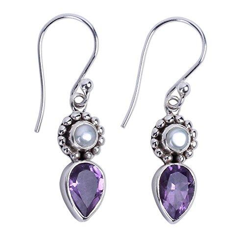 Earrings Drop Amethyst Hook (NOVICA Amethyst Cream Cultured Freshwater Pearl .925 Silver Dangle Earrings 'Amethyst Tear')