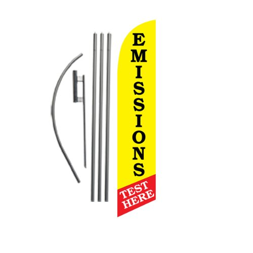 15ft Emissions Test Here Feather Banner Flag Set - INCLUDES 4pc POLE KIT w/ Ground Stake