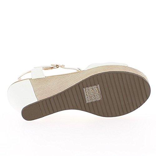talón de del y 5 sandalias meseta 14 cm compensado Fushias cuña xqTaUwZA